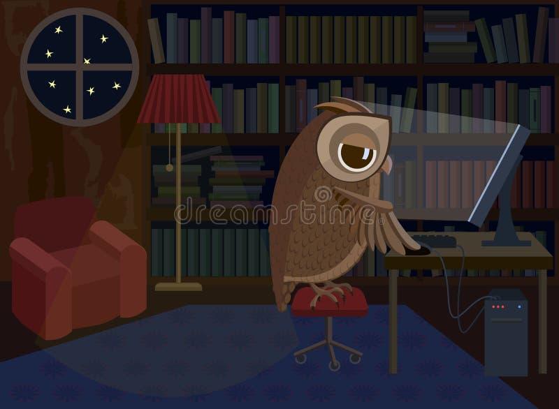 Hibou travaillant sur l'ordinateur illustration stock