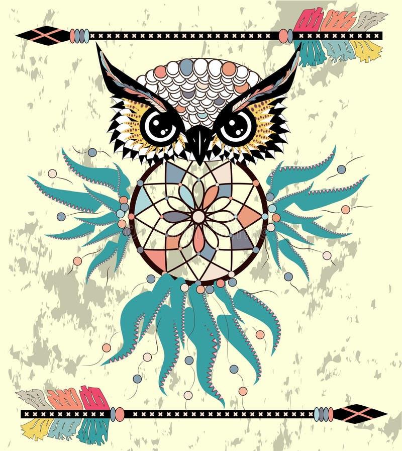 Hibou tribal de bande dessinée mignonne avec des plumes sur un fond blanc illustration de vecteur