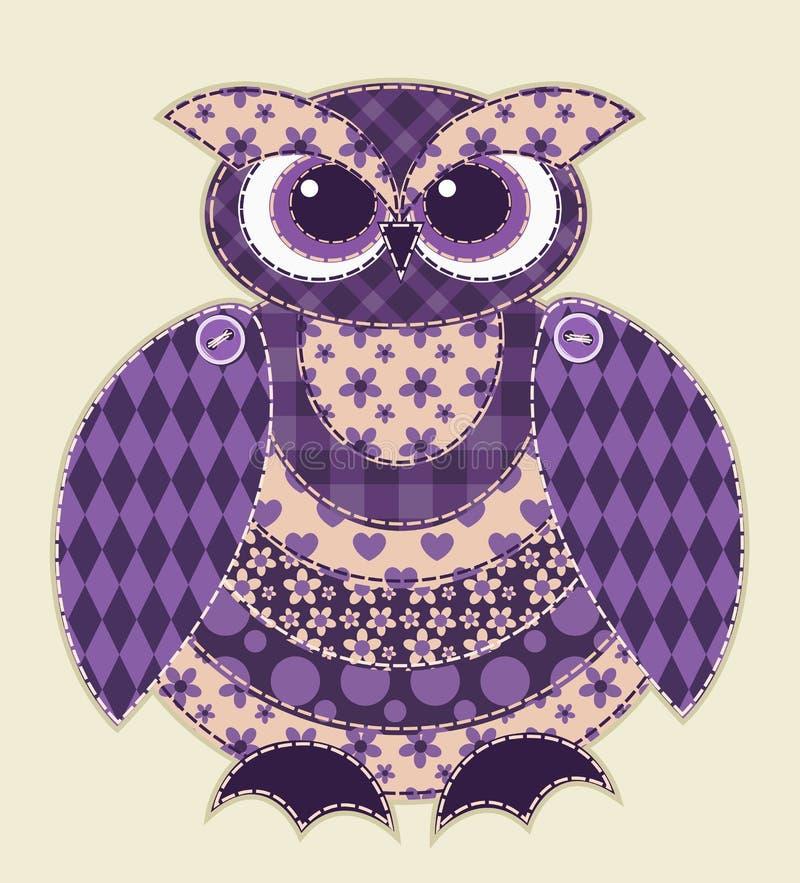 Hibou violet de patchwork illustration de vecteur