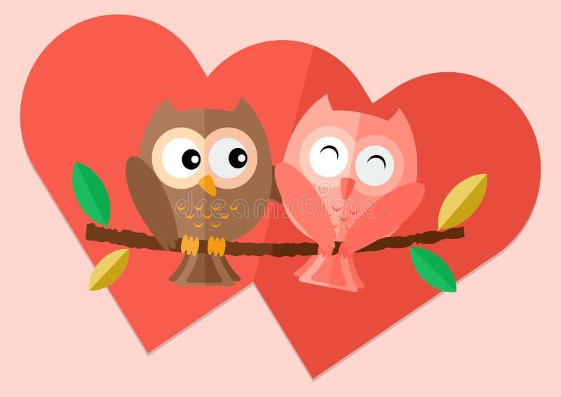 Hiboux d'amoureux avec amour sur l'arbre illustration de vecteur