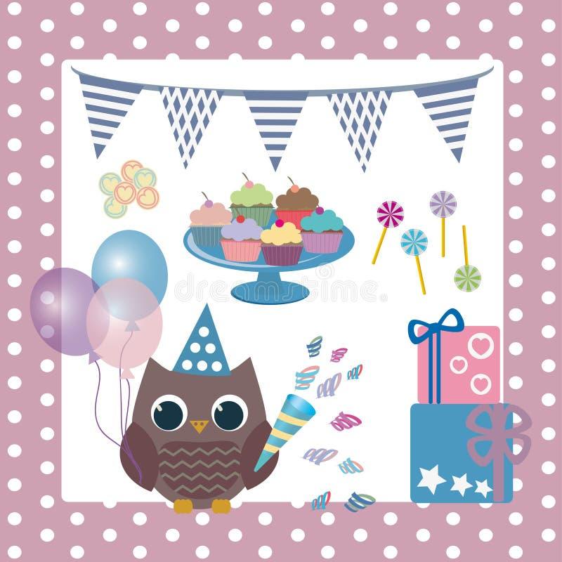 Hiboux d'anniversaire image stock