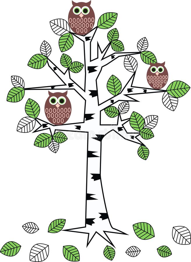 Hiboux dans un arbre illustration stock