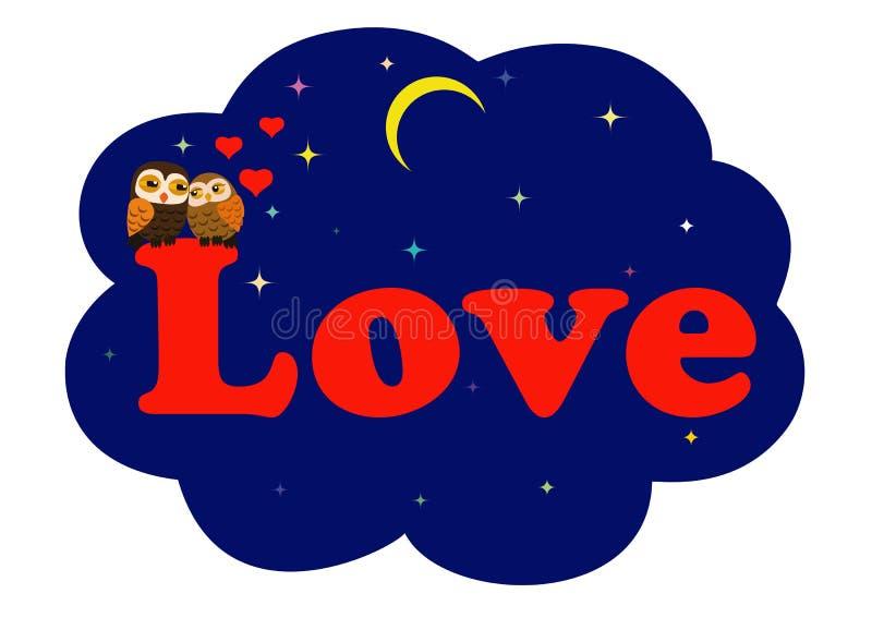 Hiboux de l'amour deux illustration de vecteur
