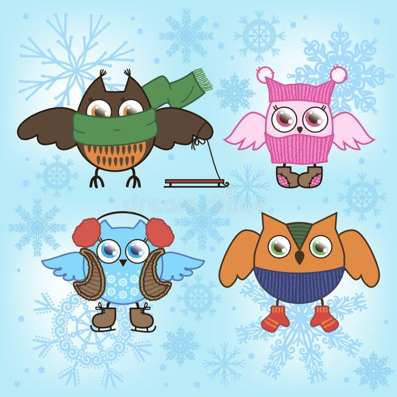 Hiboux de l'hiver illustration stock
