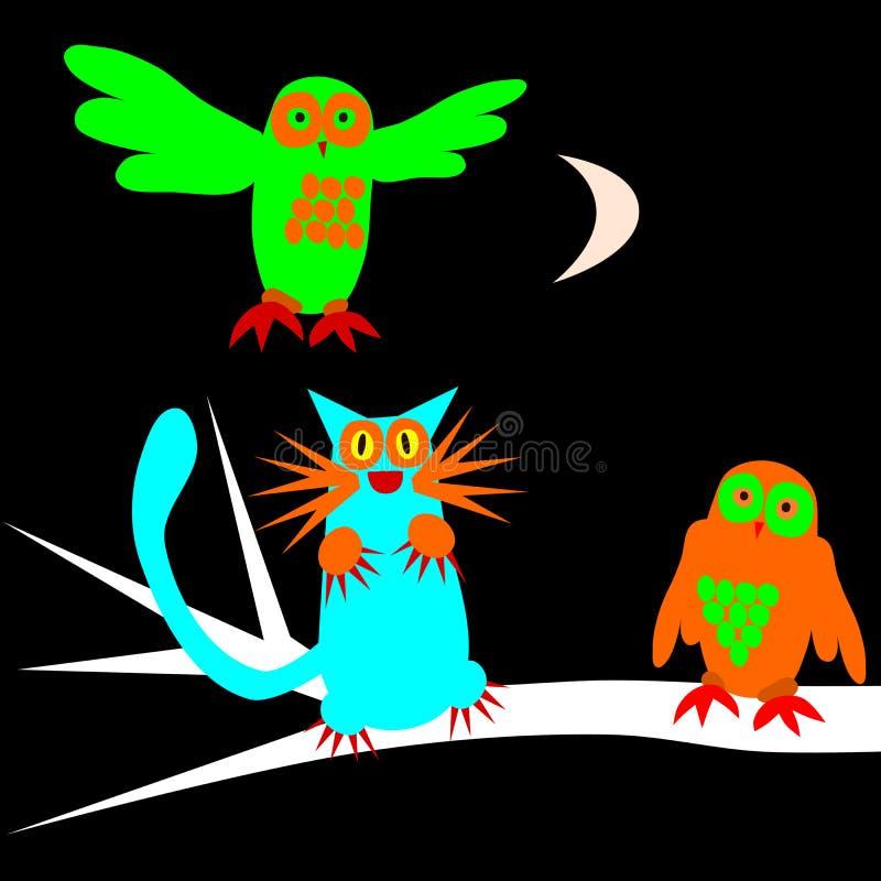 Hiboux et chat effrayants psychédéliques sous cirer la lune illustration stock