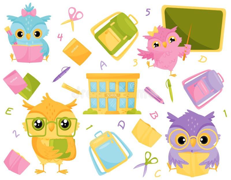 Hiboux et fournitures scolaires sages mignonnes, éducation d'école et illustration de vecteur de concept de la connaissance illustration de vecteur