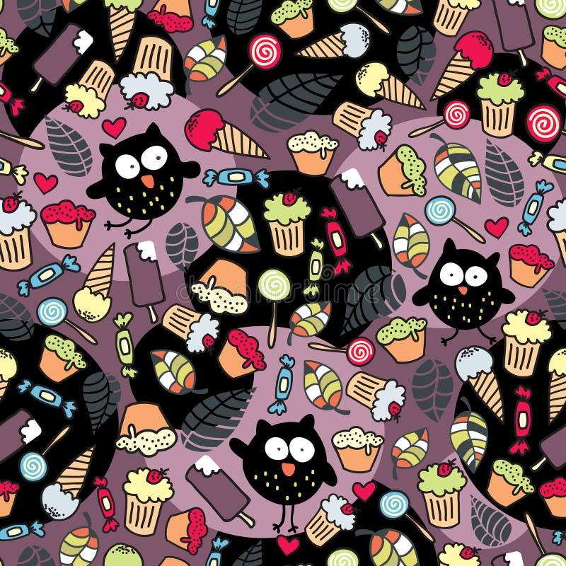 Hiboux fous et quelques choses savoureuses. illustration stock