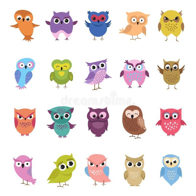 Hiboux mignons de bande dessinée réglés Collection drôle et fâchée d'oiseaux illustration de vecteur