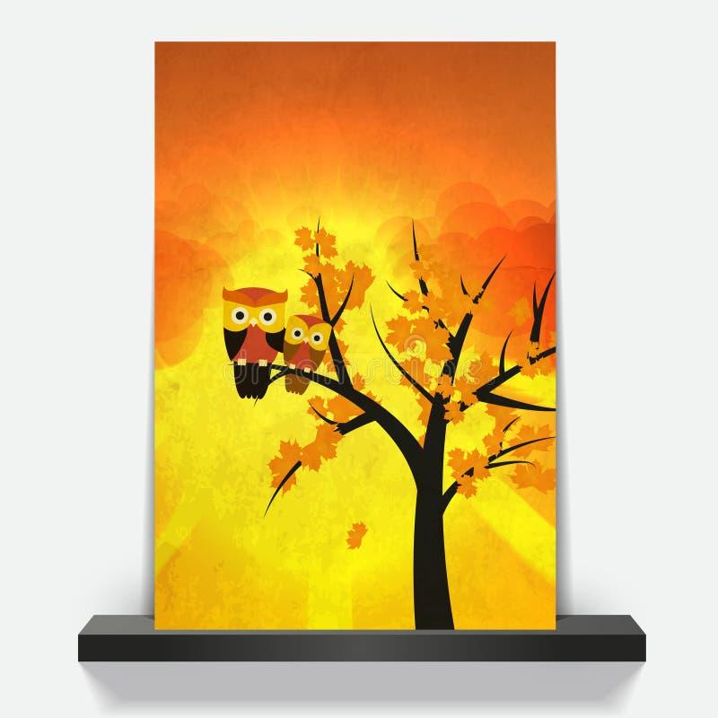 Hiboux sur des branches d'arbre en Autumn Sunrise illustration libre de droits