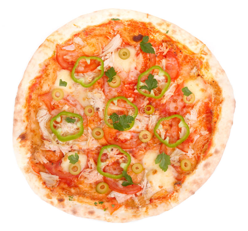 hicken pizza arkivfoto