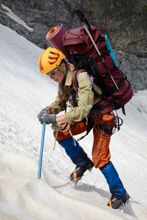 Free Hicker With Backpack And Ice-axe Royalty Free Stock Photos - 15824018