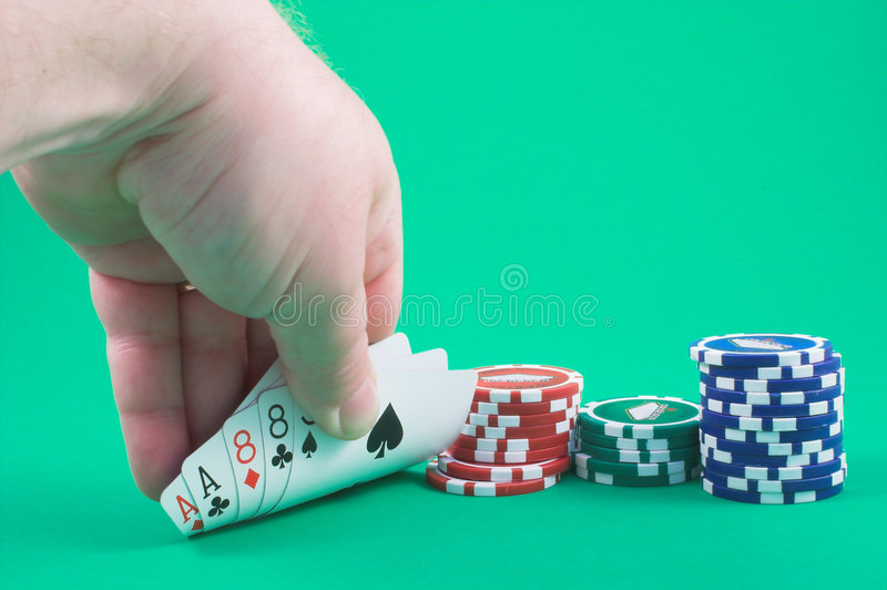 Hickoks Dead Mans Poker Hand. The dead mans hand is a two pair poker hand, aces and eights. Legend says that it was the five card draw hand held by Wild Bill royalty free stock images