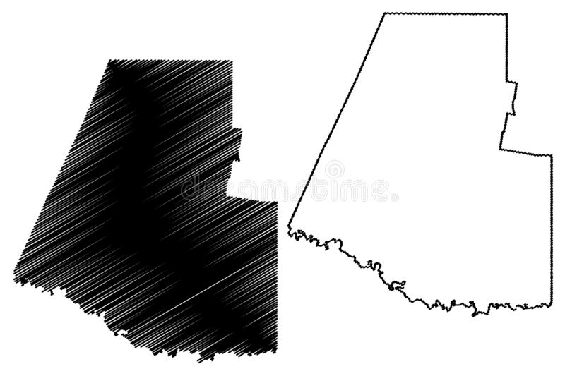 Hidalgo County, Texas Counties in Texas, United States of America,USA, U.S., US map vector illustration, scribble sketch Hidalgo. Map royalty free illustration