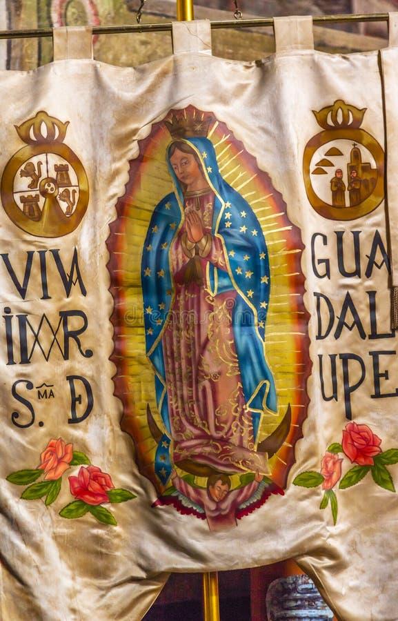 Hidalgo Guadalupe Banner Sanctuary van Jesus Atotonilco Mexico royalty-vrije stock fotografie