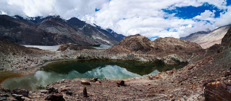 Hidden Buddhist Sacred Tso Yarab Lake. Himalaya. Mountains range. India, Ladakh, near Panamik, Sumur village, altitude 3300 m stock photography