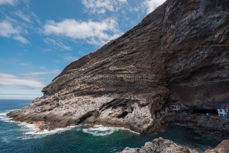 Hidden houses in the tourist attraction pirate cave of El Poris stock images