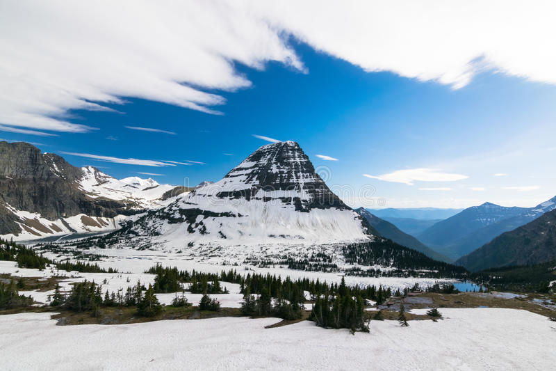 Hidden lake view point at Glacier national park stock images
