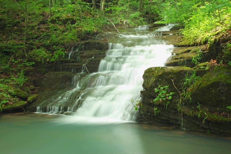 Hidden peaceful green waterfall. Ben Hur, Arkansas. Falling Water Horse Camp, Late Spring. Ozark National Forest stock photos