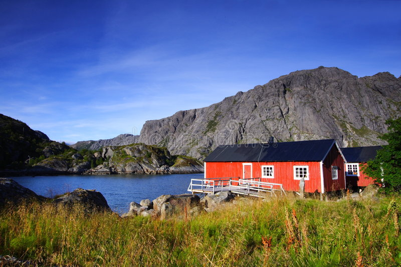 Download Hidden red houses stock image. Image of mountain, lofoten - 3654977
