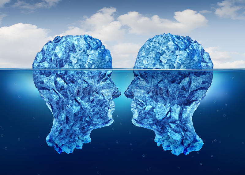 Hidden Relationship. And secret partnership as two icebergs shaped as human heads face to face concealed underwater as a clandestine meeting vector illustration