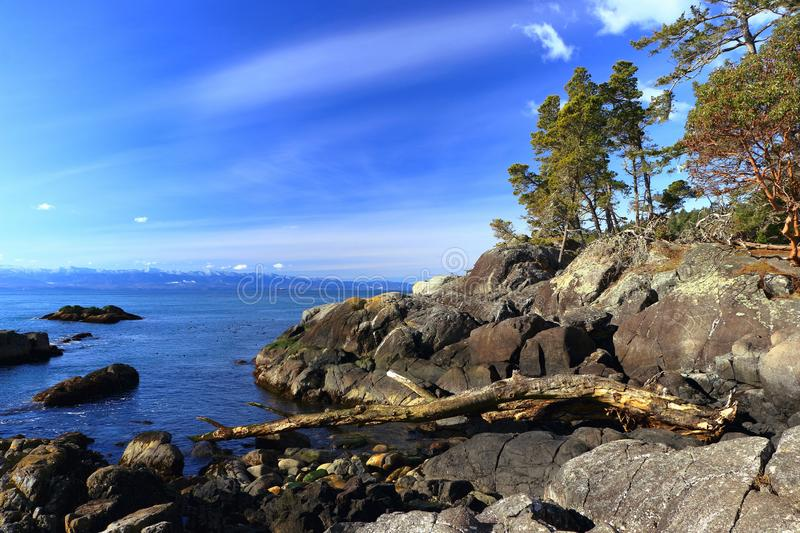 East Sooke Regional Park, Vancouver Island, British Columbia, Canada - Sunny Day at Petroglyph Point on Juan de Fuca Strait. East Sooke Regional Park, Vancouver royalty free stock photo