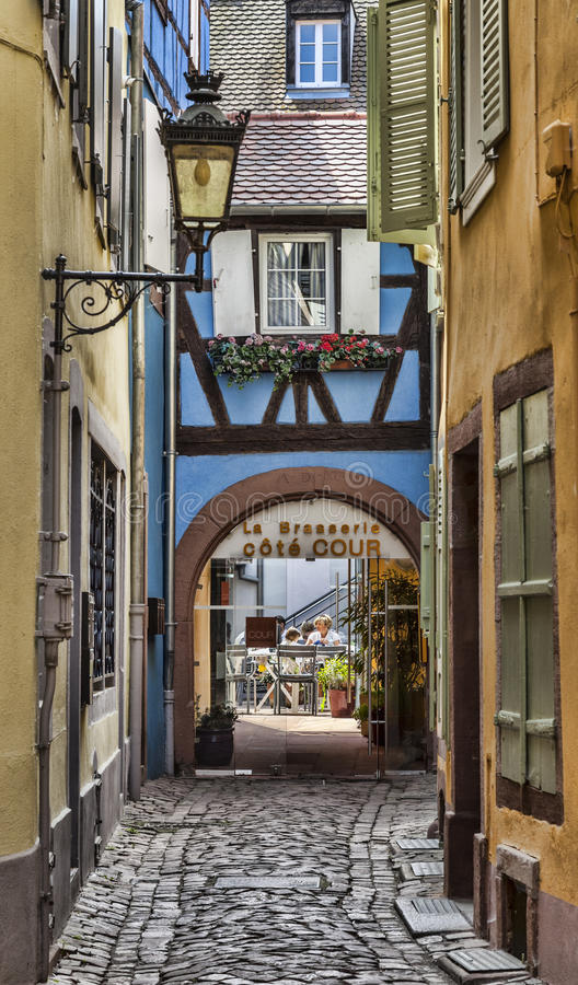 Hidden Terrace in Colmar royalty free stock photography