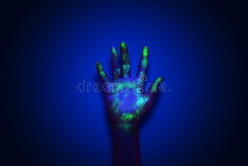 Hidden virus under UV light. stock image