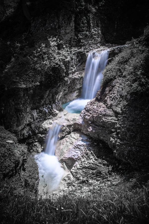 The hidden waterfall. In the heart of Dolomites stock images