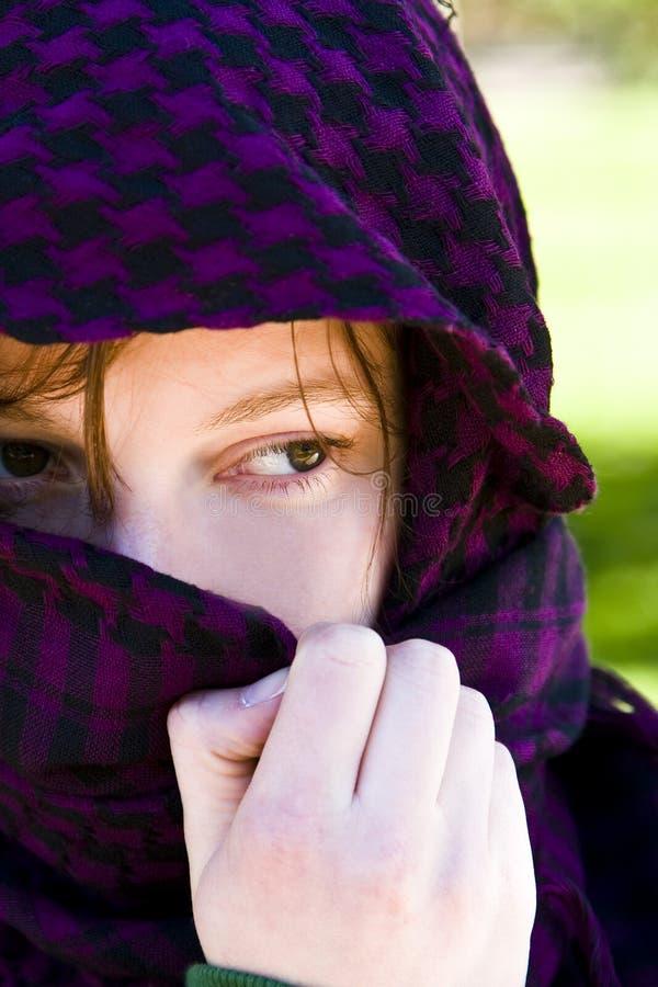Hidden woman on veil stock images