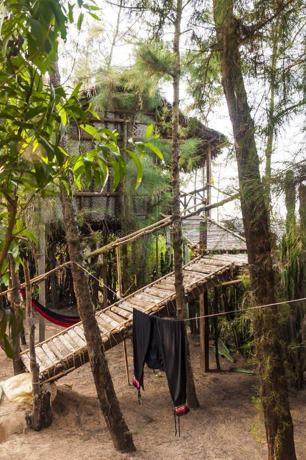 Hidden wooden cabin on a tropic beach of Southern India stock photos
