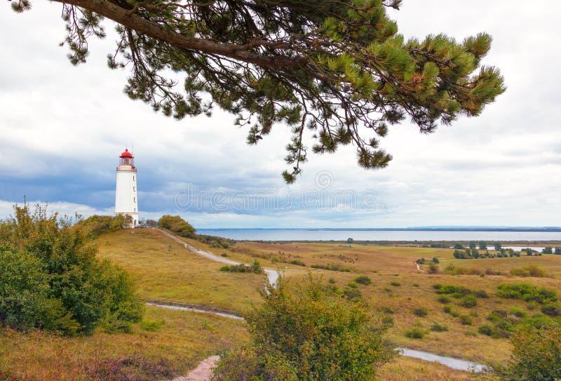 Hiddensee ölandskap med fyren royaltyfria bilder