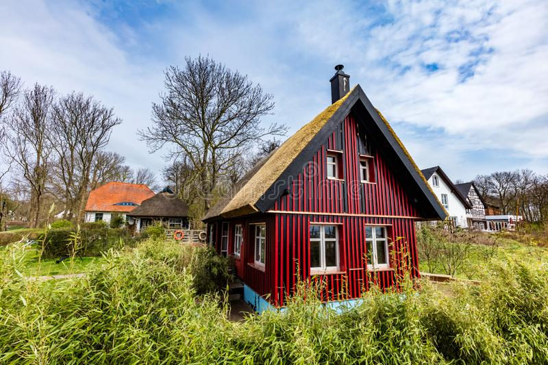 Hiddensee Island, GERMANY. April 14th, 2019. Colorful historic houses on this car-free island. The island continues to be a popular tourist destination royalty free stock photography