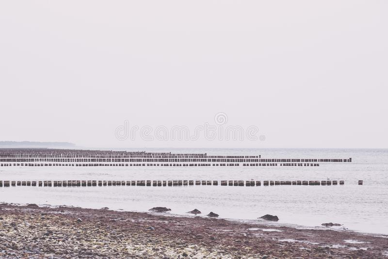 Hiddensee Island Germany, rows of groins. In the Baltic Sea stock photos