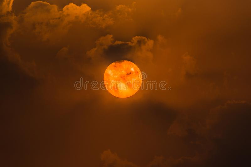 The Sun and clouds. Hide and Seek between cloiuds and the sun royalty free stock images