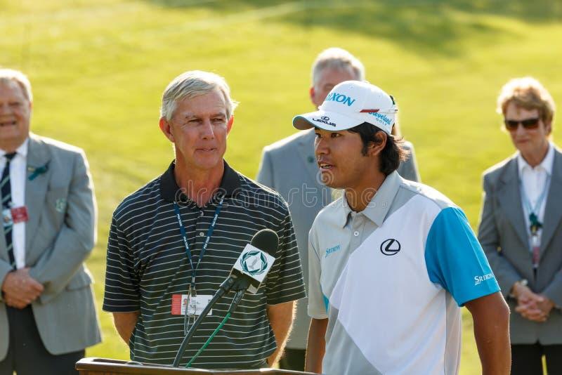 Hideki Matsuyama på den minnes- turneringen royaltyfri fotografi