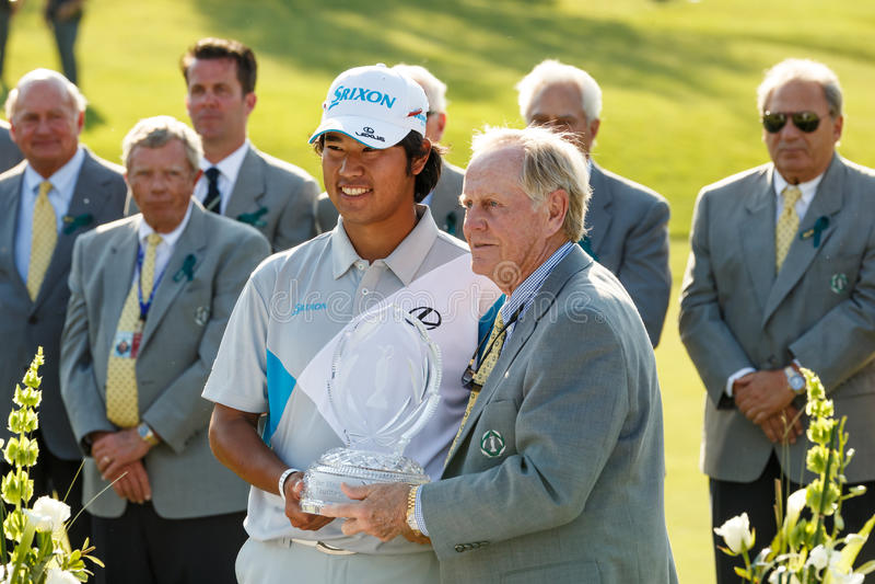 Hideki Matsuyama på den minnes- turneringen royaltyfria bilder