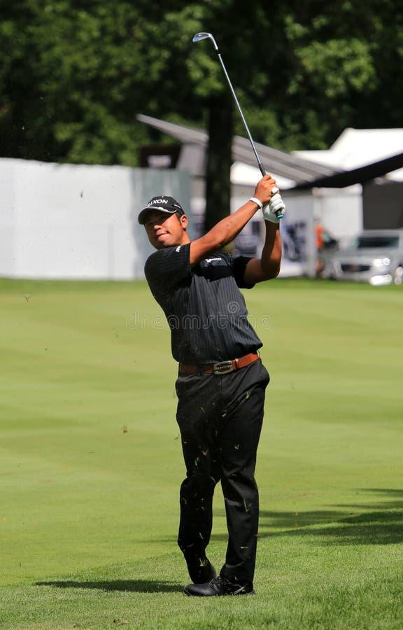 Hideki Matsuyama taking a Shot. Pro golfer Hideki Matsuyama of Japan hits a drive on the on the PGA pro tour, WGC - Bridgestone Invitational, World Golf stock photos