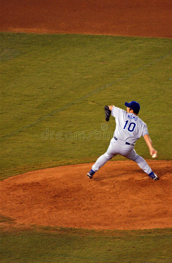 Hideo Nomo from Los Angels Dodgers. Pitcher Nomo Hideo from Los Angels Dogers throwing a ball in Qualcumm stadium in 2002 royalty free stock images