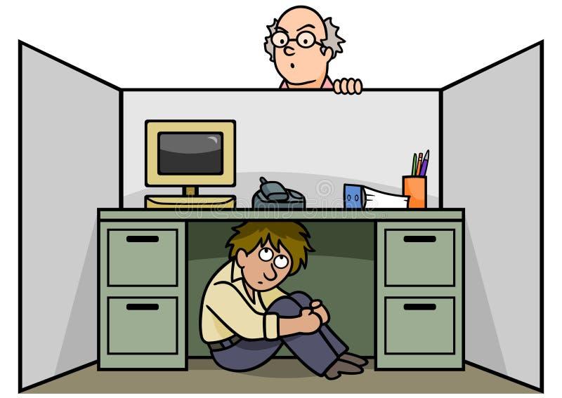 Hiding from Boss vector illustration