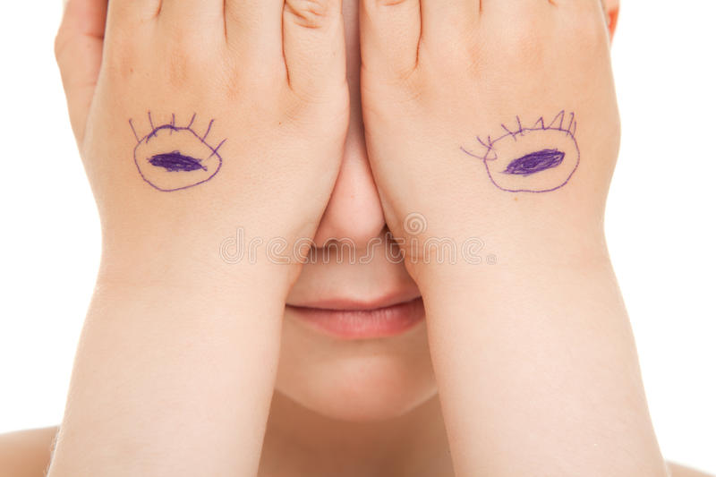 Download Hiding eyes close up stock photo. Image of shut, hide - 19600014