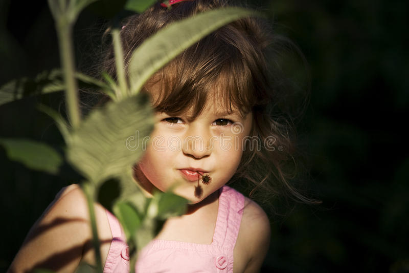 Download Hiding girl stock image. Image of nose, hide, overalls - 14617051