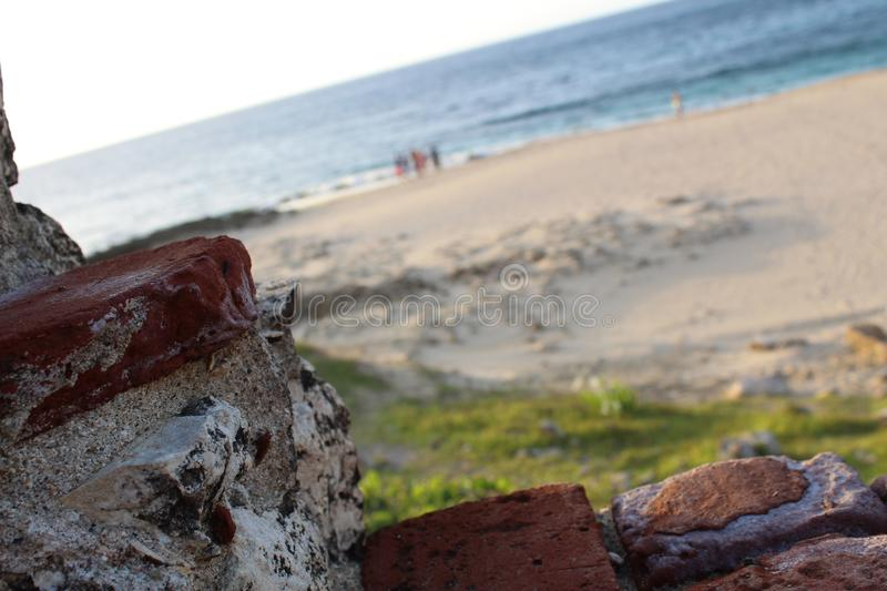 Hiding inside the lighthouse ruins at Aguadilla, Puerto Rico royalty free stock images