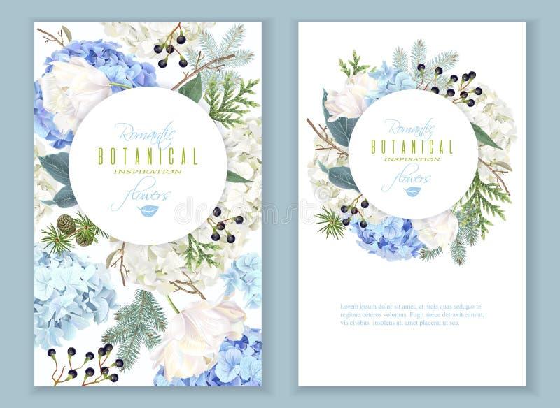 Hidrangea-Winterfahnen lizenzfreie abbildung