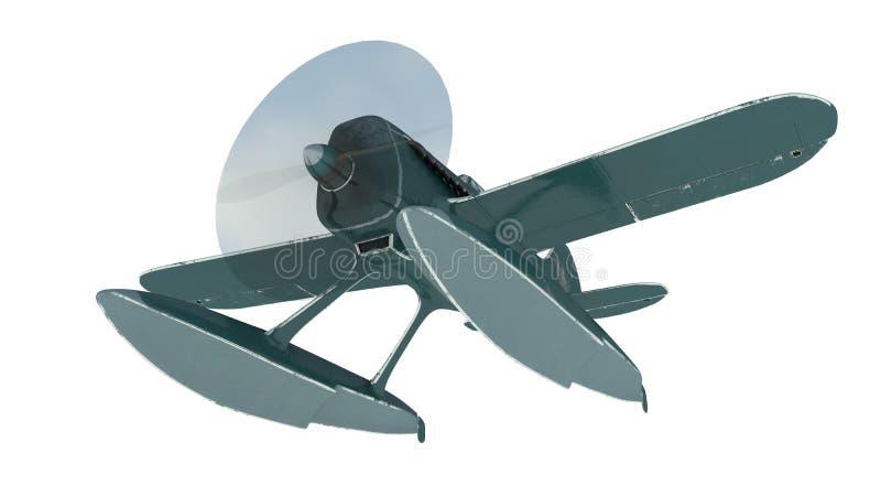 Hidroavião azul 3d rendem ilustração stock