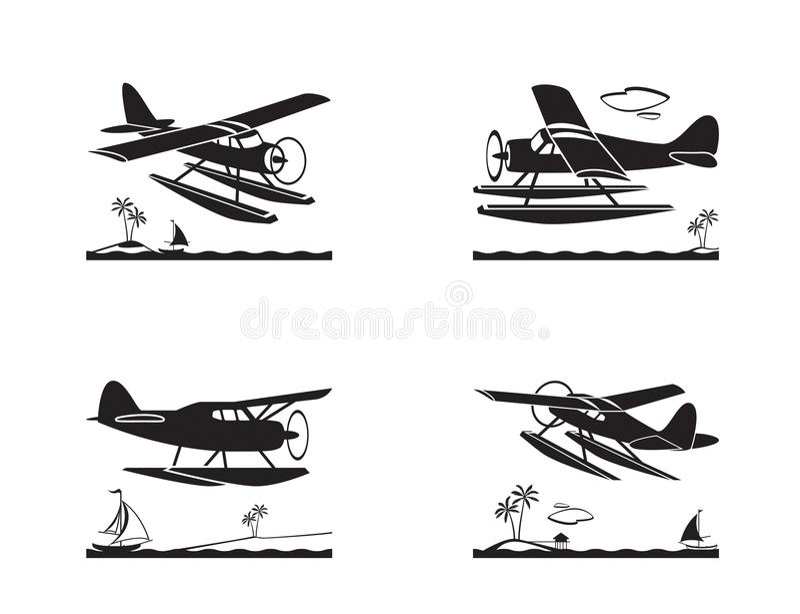 Hidroavião em voo sobre o mar ilustração do vetor