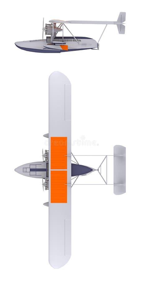 Hidroavião isolado na rendição 3d branca ilustração stock