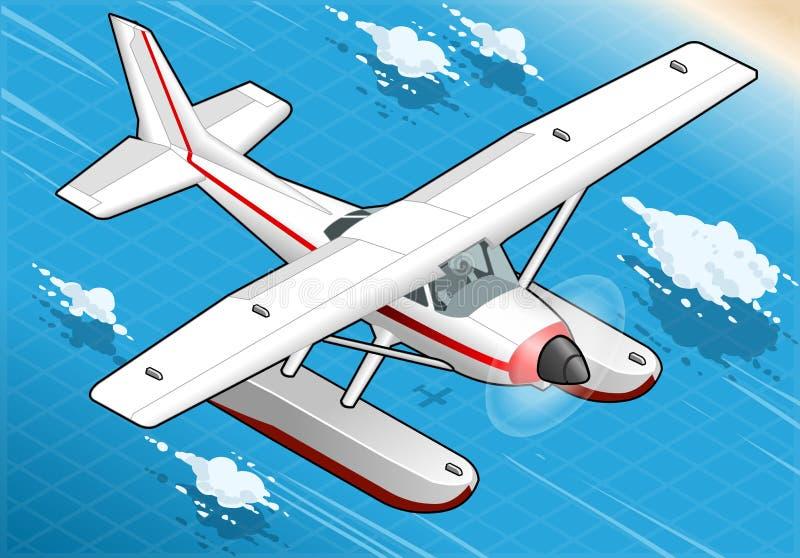 Hidroavião isométrico do voo em Front View ilustração royalty free