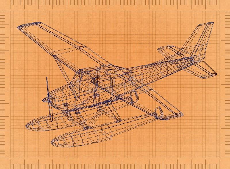 Hidroavião - modelo retro ilustração royalty free