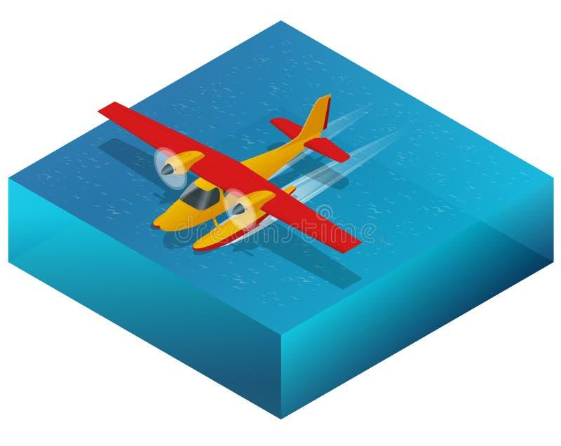 Hidroavião na água Ilustração 3d isométrica lisa para o infographics, os jogos e o projeto Transporte aéreo para o curso e ilustração royalty free