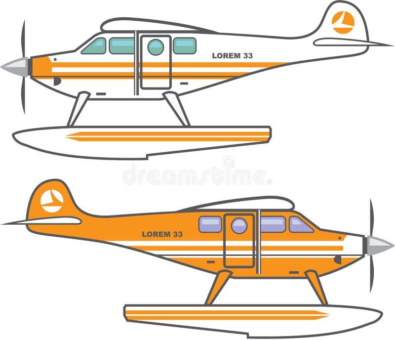 hidroavião Plano de flutuação Vetor ilustração do vetor